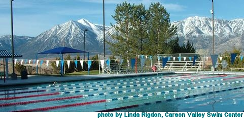 Outdoor pool at Carson Valley Swim Center, photo by Linda Rigdon