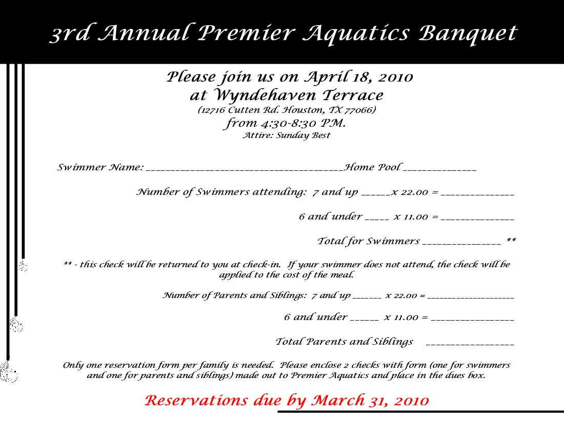 Banquet 2010 Invitation · Banquet 2010 Reservation Form  Invitation Forms