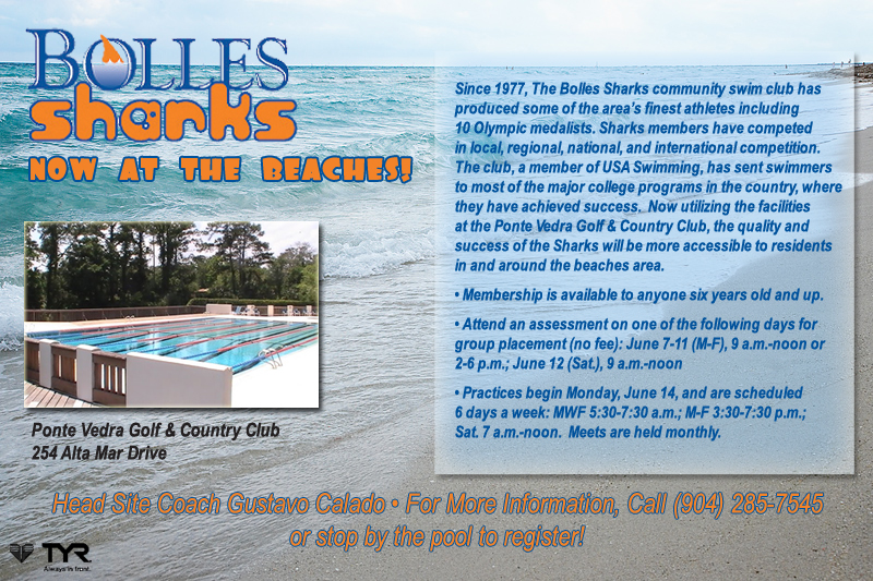 Bolles Sharks Now at the Beaches!