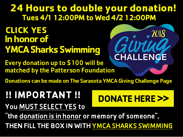 2018 giving challenge. In Honor of YMCA Sharks Swimming!