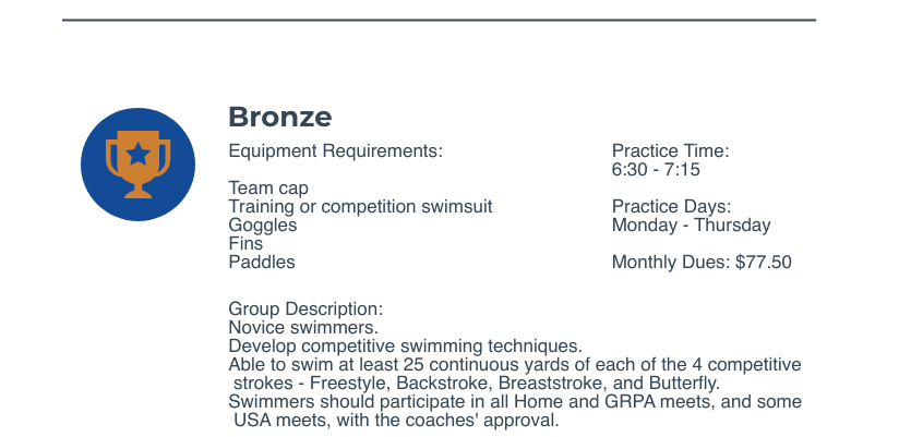 bronze group warner robins swim club for novice swimmers in central Georgia