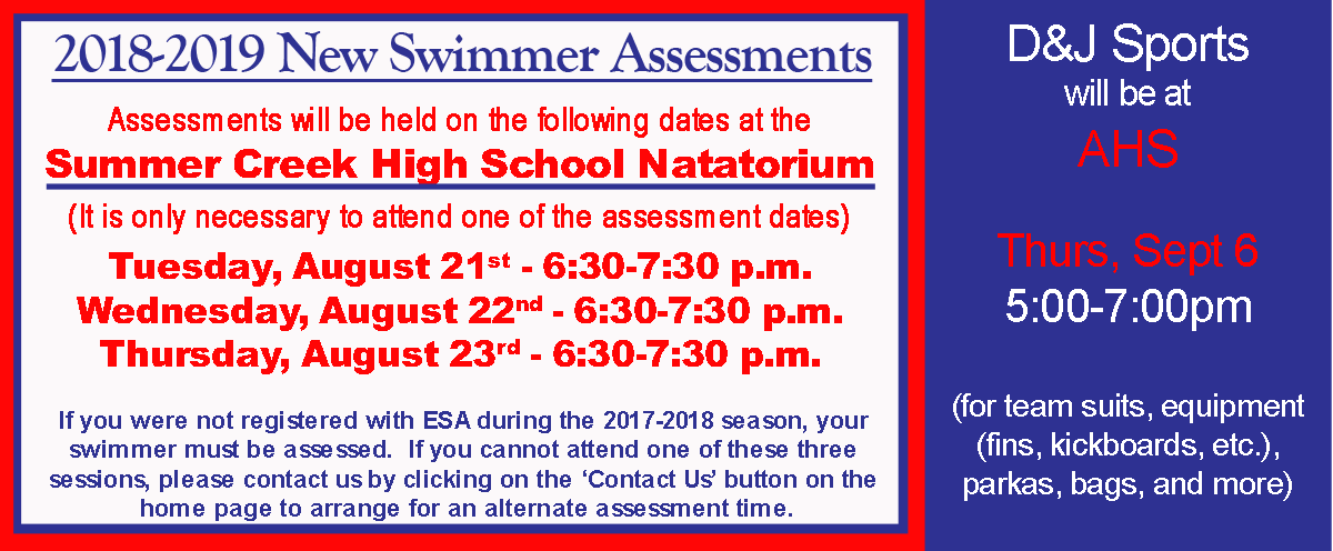 New Swimmer Assessments ? August 21, 22, & 23 6:30pm at SCHS