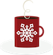mug of hot cocoa (red snowflake mug with a swirl of steam)