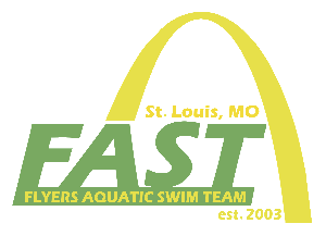 Flyers Aquatic Swim Team Logo with St. Louis Arch