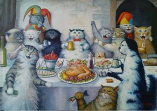 Cats banqueting