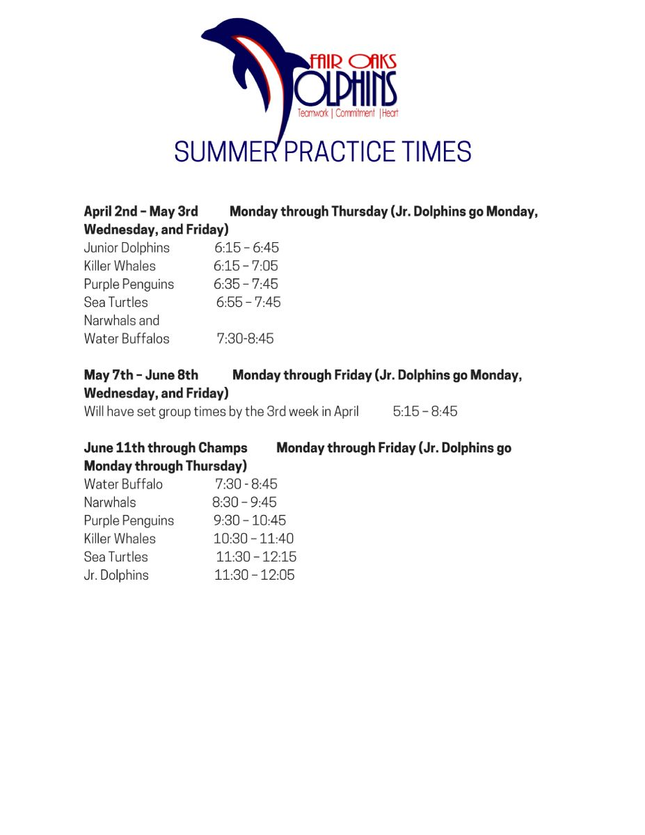 Summer Practice Times