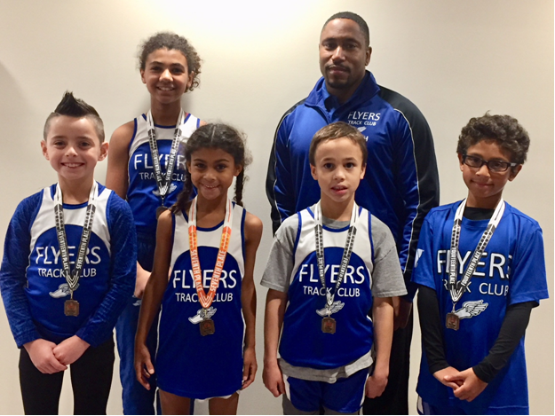 Pictured: Westfield Area Y Flyers National qualifiers. Front Row: Simon Cruz, Jasmine Parran, Matthew Blessington, Reean Dias Back Row: Clair Flagg, Coach Xavier Munden (not pictured Margaret Zhu).