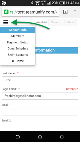 SwimOffice Account screen on Android