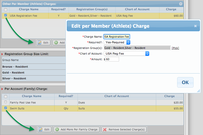 Edit SwimOffice Registration charges