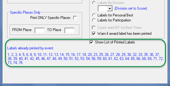 TouchPad Award Labels screen